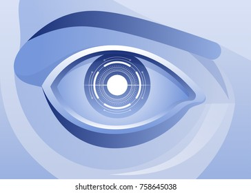 Artificial intelligence concept Cyborg eye with virtual display Vector illustration
