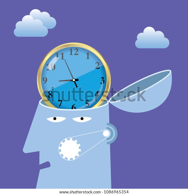 Artificial intelligence concept design, clock in the brain.