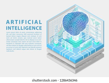 Artificial Intelligence concept with digital brain as isometric vector illustration
