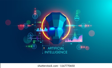 Artificial intelligence concept. digital technology and machine learning cyber mind. AI analysis the science or social data and computing future forecast.