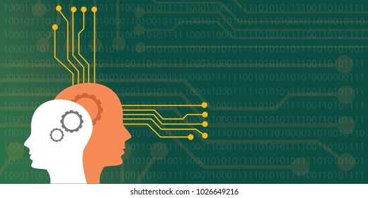 artificial intelligence concept illustration with head human robot with neuro board system vector graphic illustration