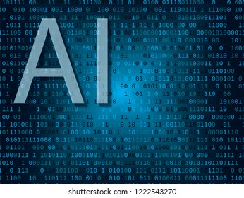 Artificial intelligence concept. Illustration of artificial intelligence over binary background