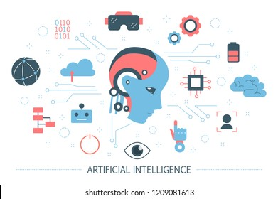 Artificial intelligence concept. Modern futuristic technology and machine learning. Robot with human mind and augmented reality. Set of colorful computer icons. Isolated flat vector illustration