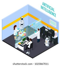 Artificial intelligence concept with repair and technology symbols isometric vector illustration