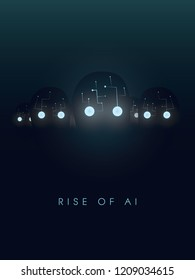 Artificial intelligence concept with robot faces and eyes glow in the dark. Symbol of future, technology and new inventions like deep learning, big data, neural networks. Eps10 vector illustration.