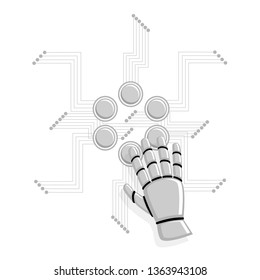 Artificial intelligence concept. Robot hand pressing the button for remote control technology, data transmit, smart house management. Flat style vector illustration