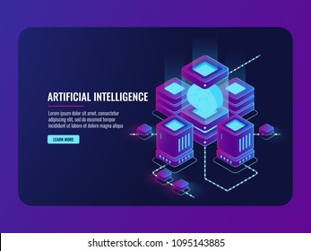 artificial intelligence concept, server room, big data processing, brain in the incubator, data center database isometric vector dark ultra violet neon