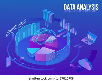 Artificial intelligence concept, smart data analysis center, brain icon, digital technology in finance, server, computer network, cloud symbol, big research isometric illustration, 3d background