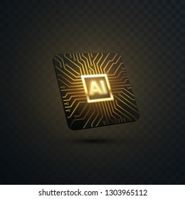 Artificial intelligence concept. Vector 3d technology illustration of micro chip with circuit board pattern. AI processor design. Machine learning or neural network icon design
