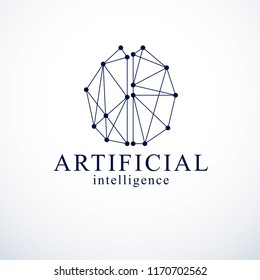 Artificial intelligence concept vector logo design. Human anatomical brain with electronics technology elements icon. Smart software, futuristic idea of intelligent machines and computer programs.