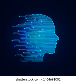 Artificial intelligence concept. Virtual technology web background. Machine learning and cyber mind domination concept in form of women face. AI in humanoid head with neural network thinks.