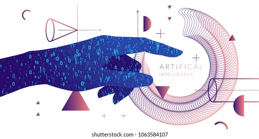 Artificial intelligence. Conceptual illustration on the theme of digital technologies, Image of human hand. Vector graphics
