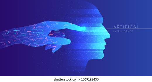 Artificial intelligence. Conceptual illustration on the theme of digital technologies. Vector graphics