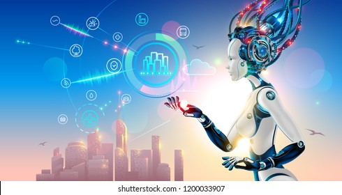 Artificial intelligence controls smart city via internet and hud interface with icons urban infrastructure. iot technology in information and communication technologies. Robot or cyborg woman with AI