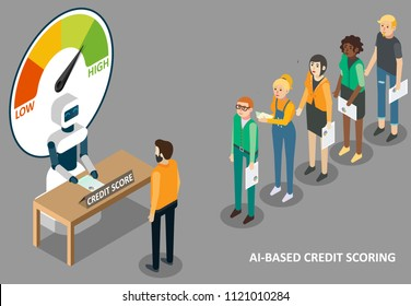 Artificial intelligence credit scoring concept. Vector isometric illustration of ai robot machine with credit scoring meter and people waiting in queue for machine learning of their creditworthness.