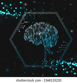 Artificial Intelligence: current trends and challenges. Brain outline on blue background, Artificial intelligence or ai concept.Vector illustration.