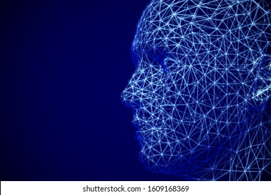 Artificial intelligence or deep machine learning concept: polygonal male face profile. Digital human or robot head - abstract visualization of neural network. EPS 10, vector illustration.
