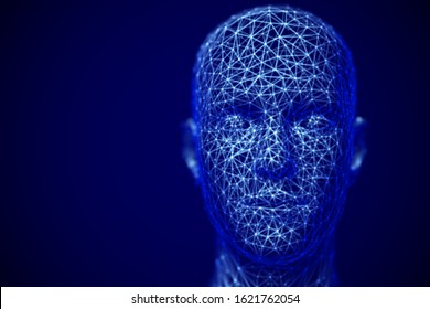 Artificial intelligence or deep machine learning concept: 3D digital human head. Polygonal male face - abstract visualization of biometric face recognition technology. EPS10, vector illustration.