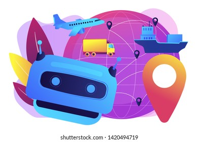 Artificial intelligence delivery, logistics and distribution. AI in travel and transportation, AI travel recommendations, AI smart booking concept. Bright vibrant violet vector isolated illustration