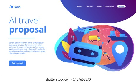 Artificial intelligence delivery, logistics and distribution. AI in travel and transportation, AI travel recommendations, AI smart booking concept. Website homepage landing web page template.