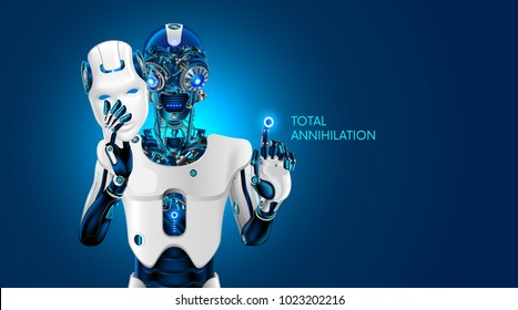 Artificial intelligence destroy humanity. Robot removes the anthropomorphic mask. AI gives the command to destroy. Evil mechanical robot head with burning eyes. Futuristic Scifi illustration.