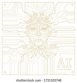 Artificial Intelligence. Digital Face Scanning. Computer electronic circuit. Concept of artificial intelligence or ai technology advancement. Vector illustration.