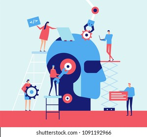 Artificial intelligence - flat design style illustration. Metaphorical composition with cute characters, workers fixing a big robotic head. Mechanic arm, chat, coding symbols. Teamwork concept