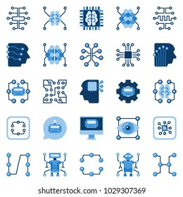 Artificial intelligence flat icons set. Vector AI and machine learning concept symbols or design elements