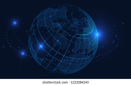 Artificial intelligence and future technology background, internet connection, science and technology background