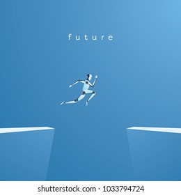 Artificial intelligence and future technology vector concept. Ai robot jumping over gap as symbol of overcoming challenges and finding solutions with help of ai. Eps10 vector illustration.