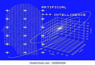Artificial intelligence futuristic cyberpunk background. Profile of human made of binary glitched code and 3d visualization of chaotic systems, attractors.