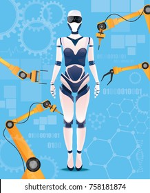 Artificial intelligence girl cyborg robot assembly background