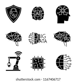 Artificial intelligence glyph icons set. Silhouette symbols. Neurotechnology. Cybersecurity, ai, digital brain, neural network, big data, iot robot, internet of things. Vector isolated illustration