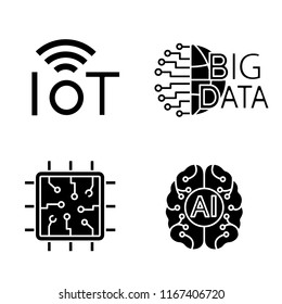 Artificial intelligence glyph icons set. Silhouette symbols. Neural network. Neurotechnology. Internet of things, big data, chip, AI. Vector isolated illustration