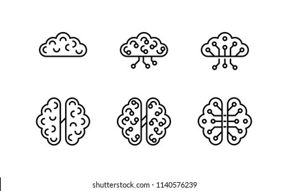 Artificial intelligence, Human anatomical brain with electronics technology elements icon. Smart software, futuristic idea of intelligent machines and computer programs. vector design.