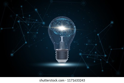Artificial intelligence Human brain inside Lightbulb vector illustration