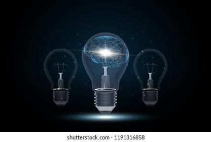 Artificial intelligence Human brain inside Lightbulb vector illustration