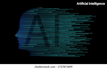 Artificial Intelligence Human Head Shape Technology, vector art illustration.