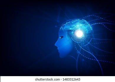 Artificial intelligence in humanoid head with neural network thinks. AI with Digital Brain is learning processing big data.Technology background concept. vector illustration