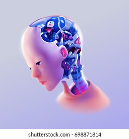 an artificial intelligence humanoid robot on right side views using mood and tone from science fiction movies color placed on bright purple background