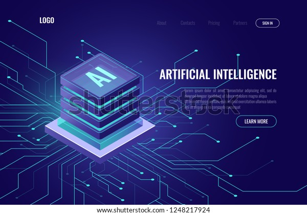 Artificial intelligence icon AI, isometric cloud computing concept, data mining, isometric, neural network, machine programming, vector