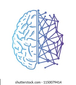 Artificial intelligence icon brain. Vector illustration. Isolated on white background.