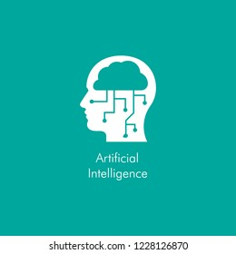 Artificial intelligence icon with a human head in side view, cloud and tech line sockets.