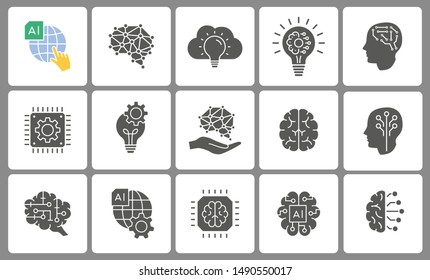 Artificial intelligence icon set. Black vector illustrations isolated on white.