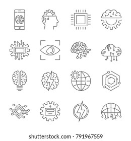 Artificial Intelligence icon set. Editable Stroke.