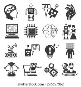 artificial intelligence icons, AI icons, robot icons set