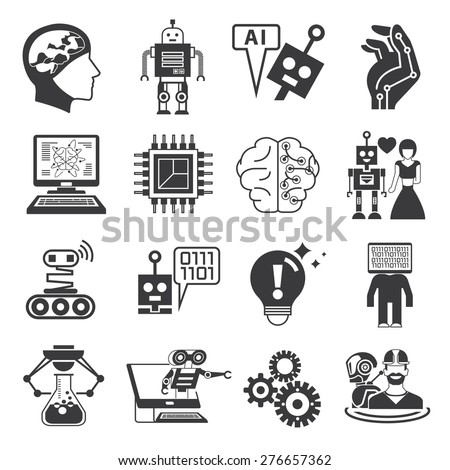 Artificial Intelligence Icons Ai Icons Robot Stock Vector Royalty