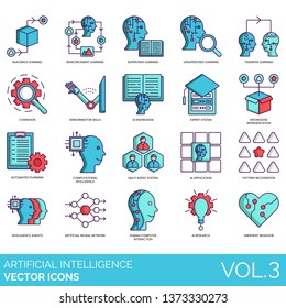 Artificial intelligence icons including blackbox, reinforcement, supervised, cognition, sensorimotor skills, expert system, multi agent, application, pattern recognition, neural network, research.