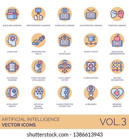 Artificial intelligence icons including blackbox learning, reinforcement, supervised, unsupervised, transfer, cognition, sensorimotor skills, ai knowledge, expert system, representation, recognition.