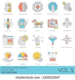 Artificial intelligence icons including brain simulation, superintelligence, motion, manipulation, expert system, life, wireless charging, pet robot, smart house, multi agent, cloud control panel.